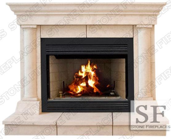Cast Stone Fireplace, Tuscan Column Mantel Facing