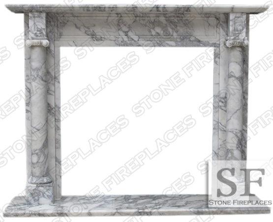 White Marble Mantel, Carrara Marble Fireplace, Barrington, Italian