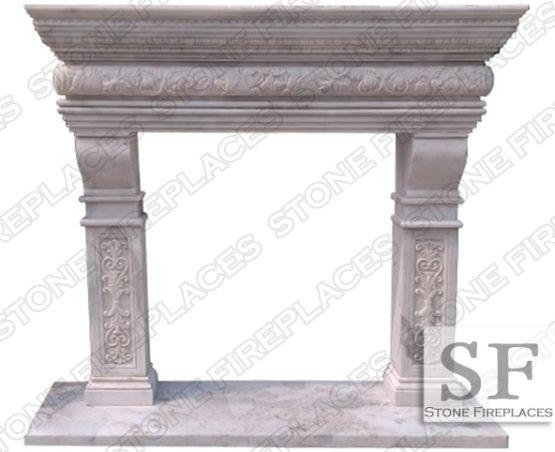 White Marble Fireplace Mantel Columbus