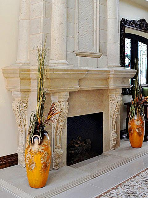 Cast stone overmantel fireplace